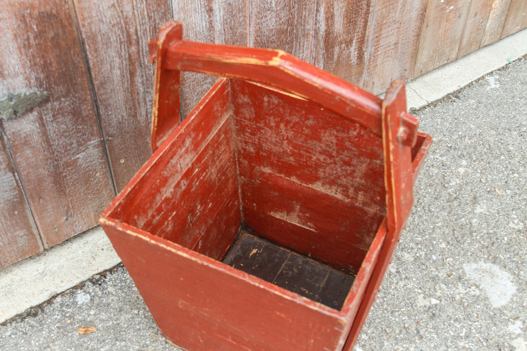 Brick Red Chinese Wooden Basket