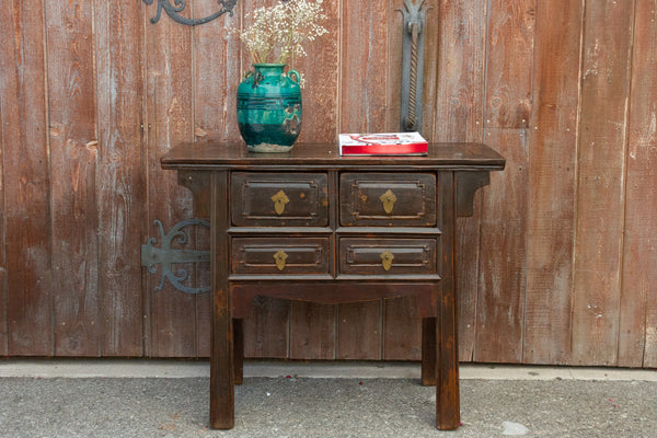 Aged Brown Chinese Console Table