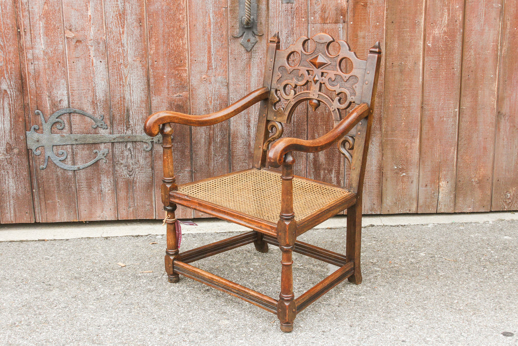 English Jacobean Club Chair W/ Mud Cloth Seat
