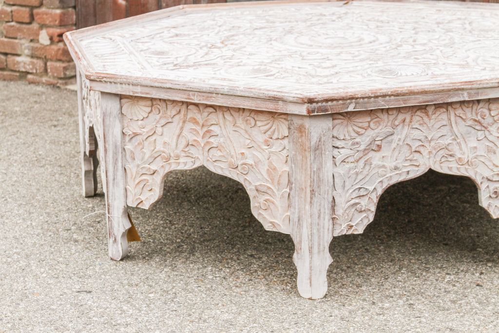 Grand White-Washed Moorish Carved Octagonal Coffee Table