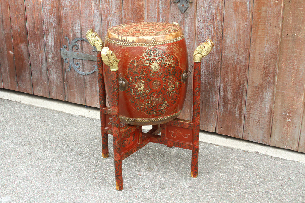 Vintage Hand Painted Tanggu Style Drum with Gorgeous Stand