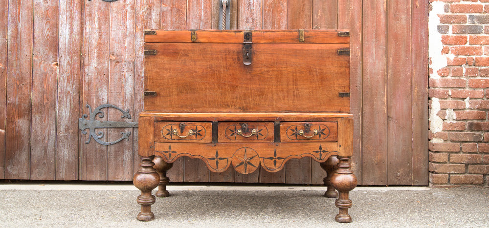 Antique Ceylon Campaign Chest On Stand