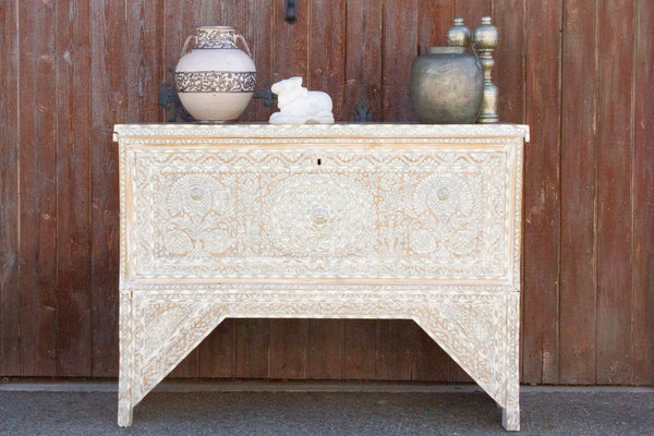 Antique Damascus Mother of Pearl Wedding Chest