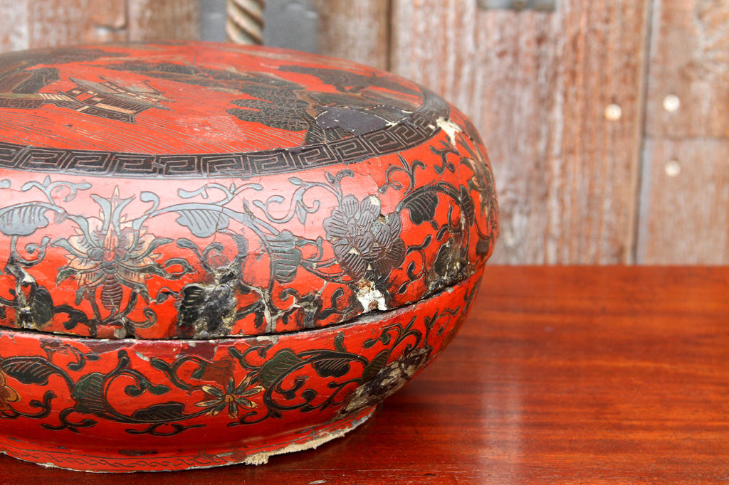 Red Lacquer Chinese Painted Box