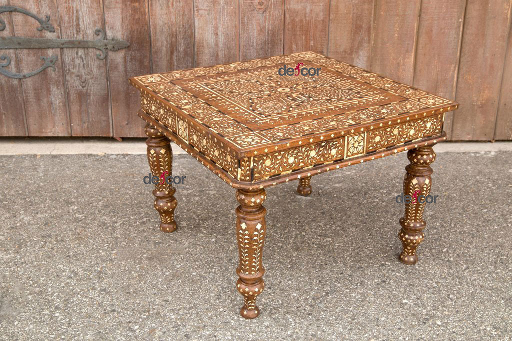 Small Marigold Bone Inlay Side Table