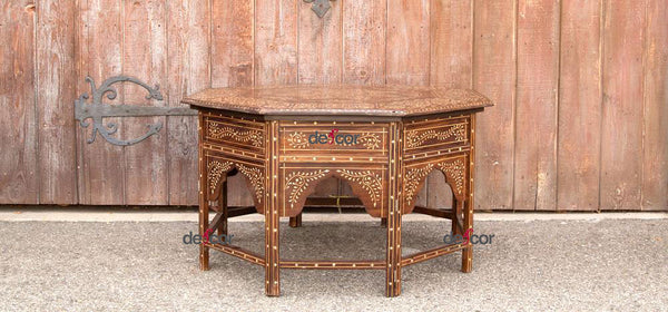 Large Octagonal Inlaid Star Coffee Table