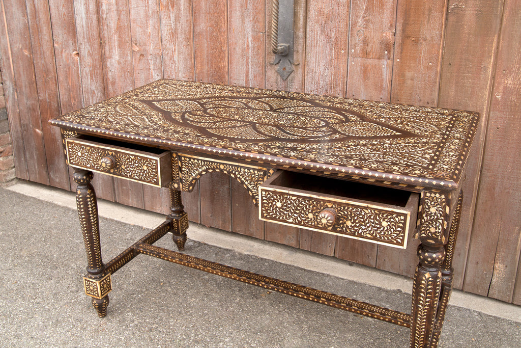 Antique British Colonial Inlay Writing Table