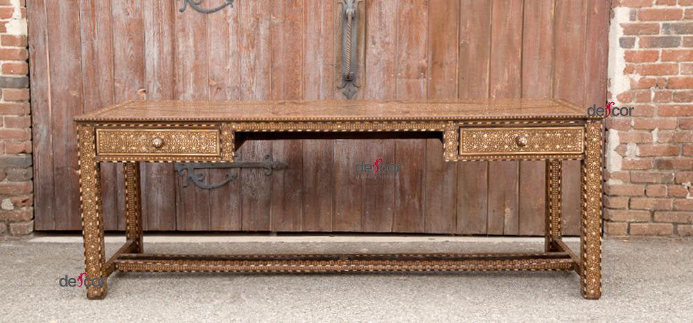 Very Long Inlaid Colonial Style Writing Table