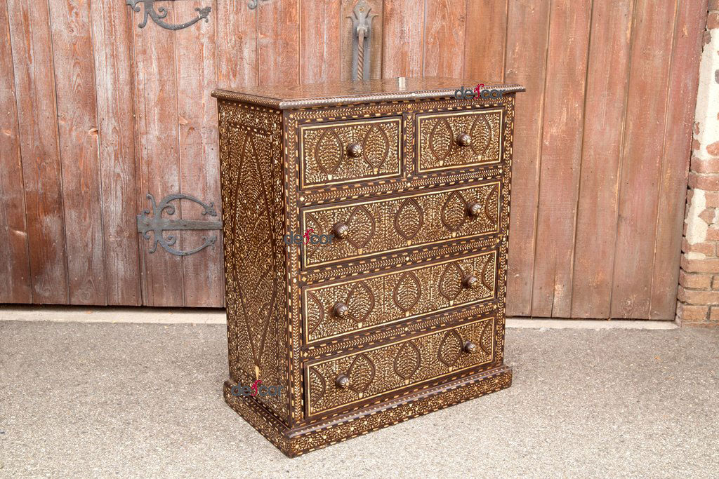 Tall Colonial Bone Inlay Chest of Drawers
