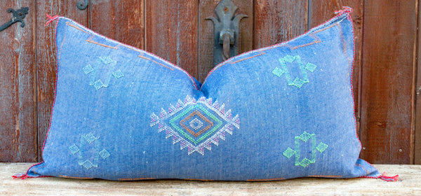 Toulin Long Lumbar Moroccan Silk Rug Pillow
