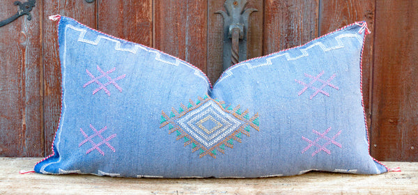 Kala Long Lumbar Moroccan Silk Rug Pillow