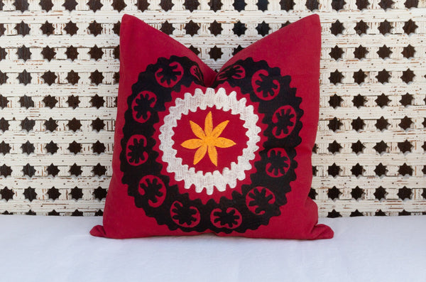 Red Canvas Suzani Pillow
