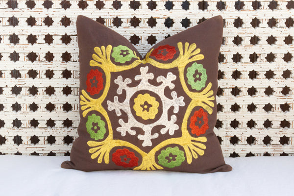 Floral Canvas Suzani Pillow