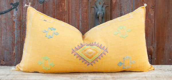 Layla Long Lumbar Moroccan Silk Rug Pillow