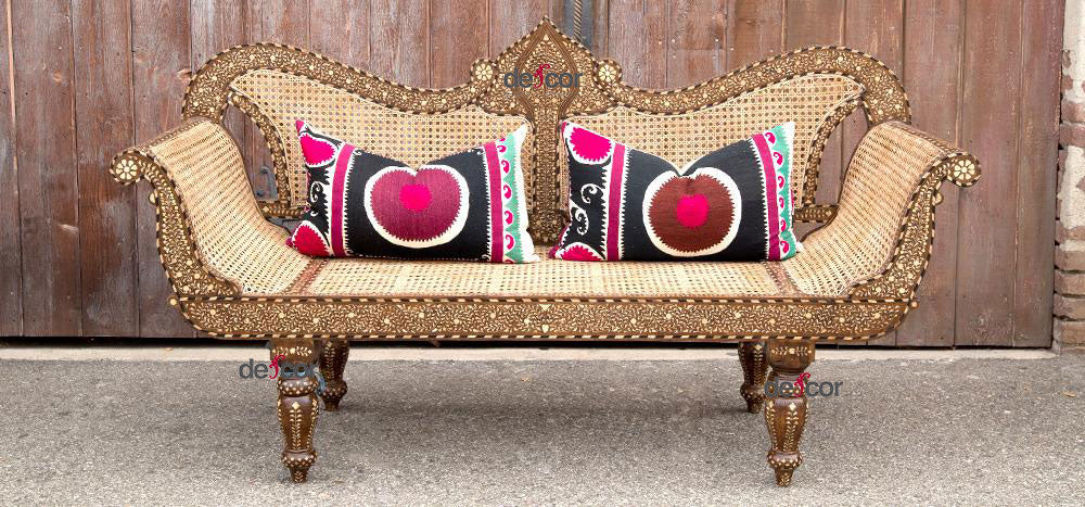 Exquisite Bone Inlay Settee Bench