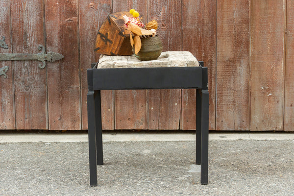 Antique Fatehpur Stone Niche End Table on Custom Stand