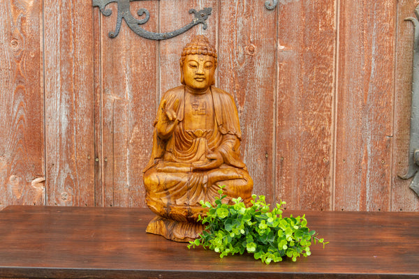 Lovely Carved Gleaming Wood Buddha