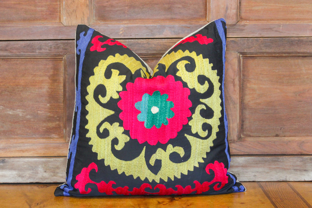Lovely Flower Suzani Square Pillow
