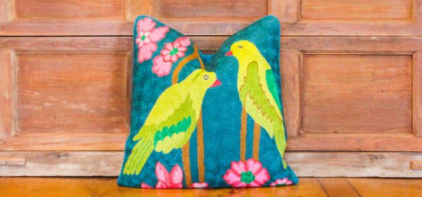 Verde Amar Crewel Embroidered Pillow