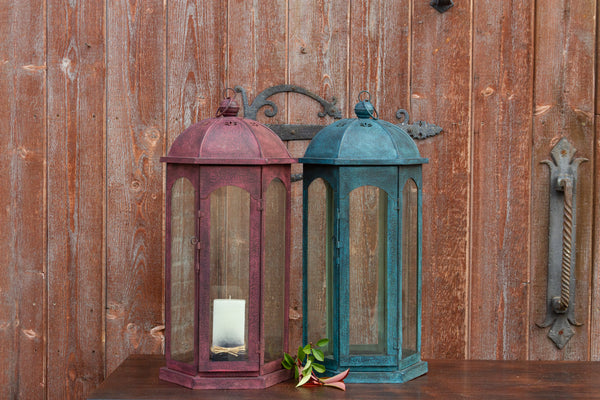 Ruby Acanthus Glass Lantern