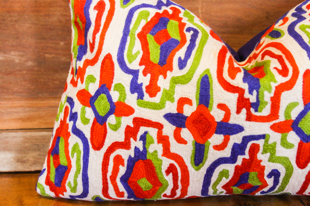 Vibrant Crewel Embroidered Pillow