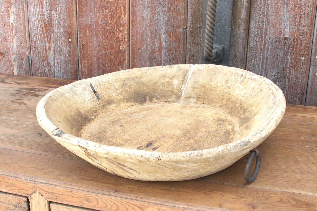 Vintage Bleached Wood Dough Bowl W/ Ring Handles