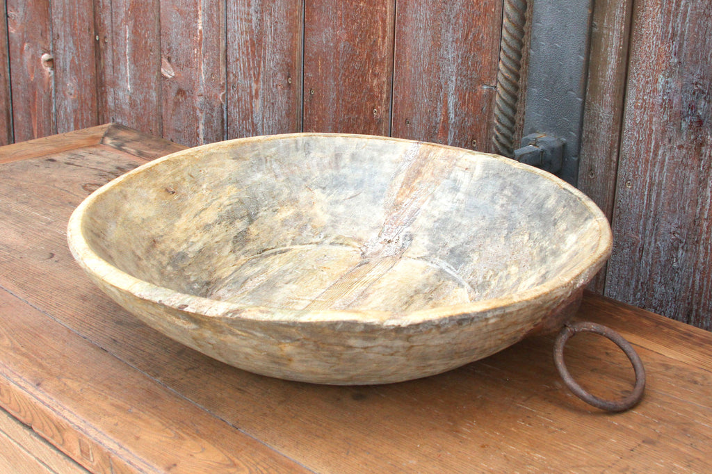Waxed Bleached Wood Dough Bowl W/ Ring Handles