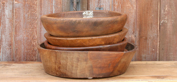 Wooden Dough Bowl with Metal Accent