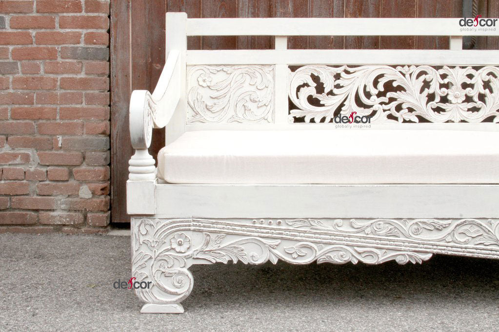 Hand Rubbed Carved Dee Opium Teak Daybed