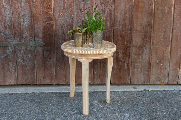 Bleached Cedar Syrian Marquetry Side Table