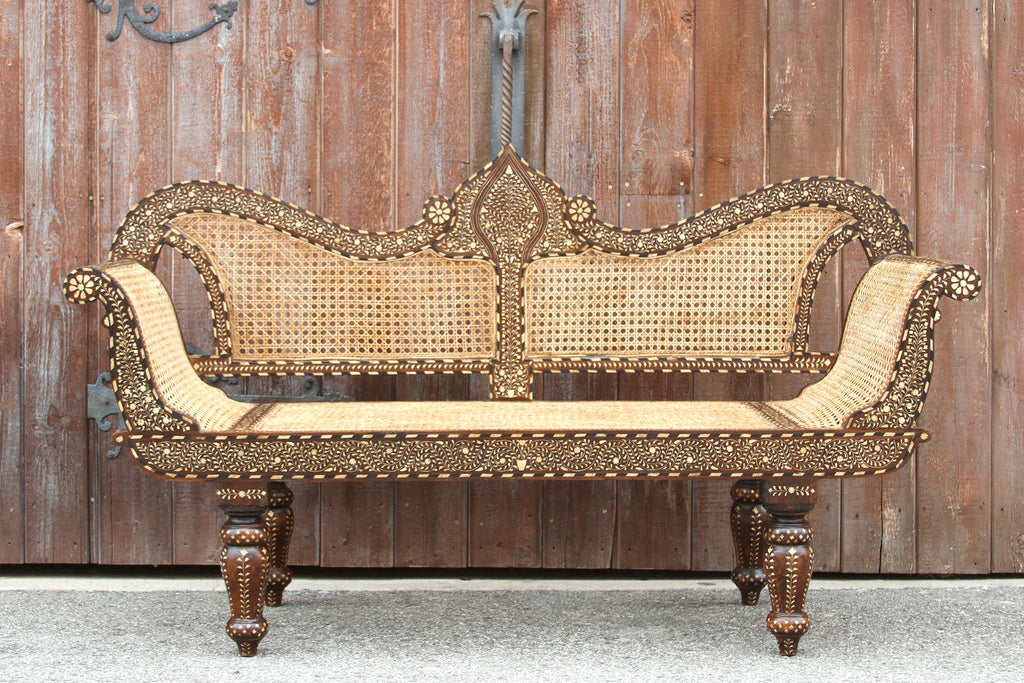 Royal Bone Inlay Settee Bench