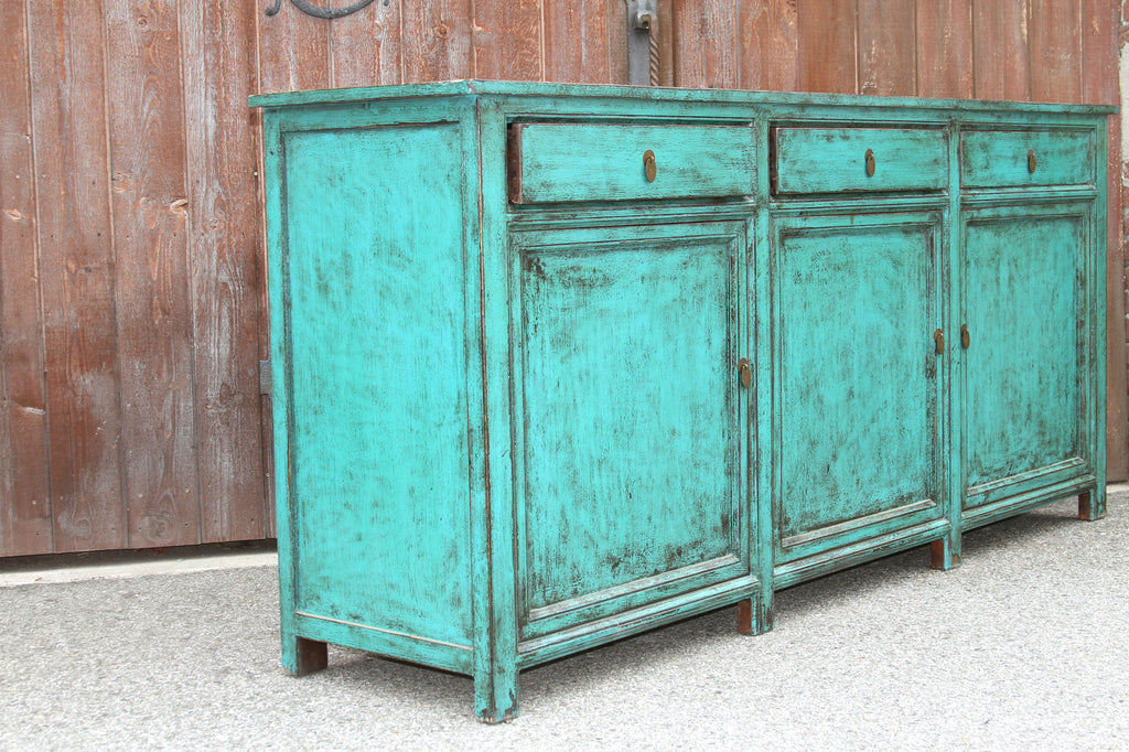 Appealing Asian Teal Credenza