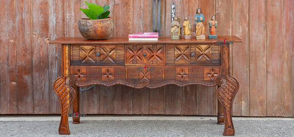 Aged Tudor Brown Nahuala Carved Console