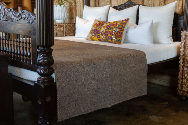 Dark Oak Filanan Embroidered Bed Cover