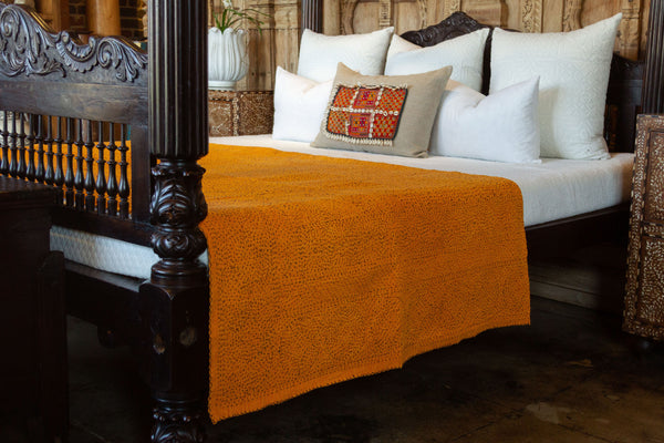 Pumpkin Orange Filanan Embroidered Bed Cover