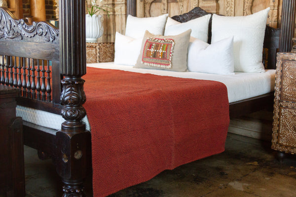 Rust Filanan Embroidered Bed Cover