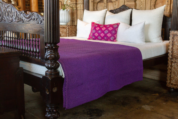 Purple Filanan Embroidered Bed Cover