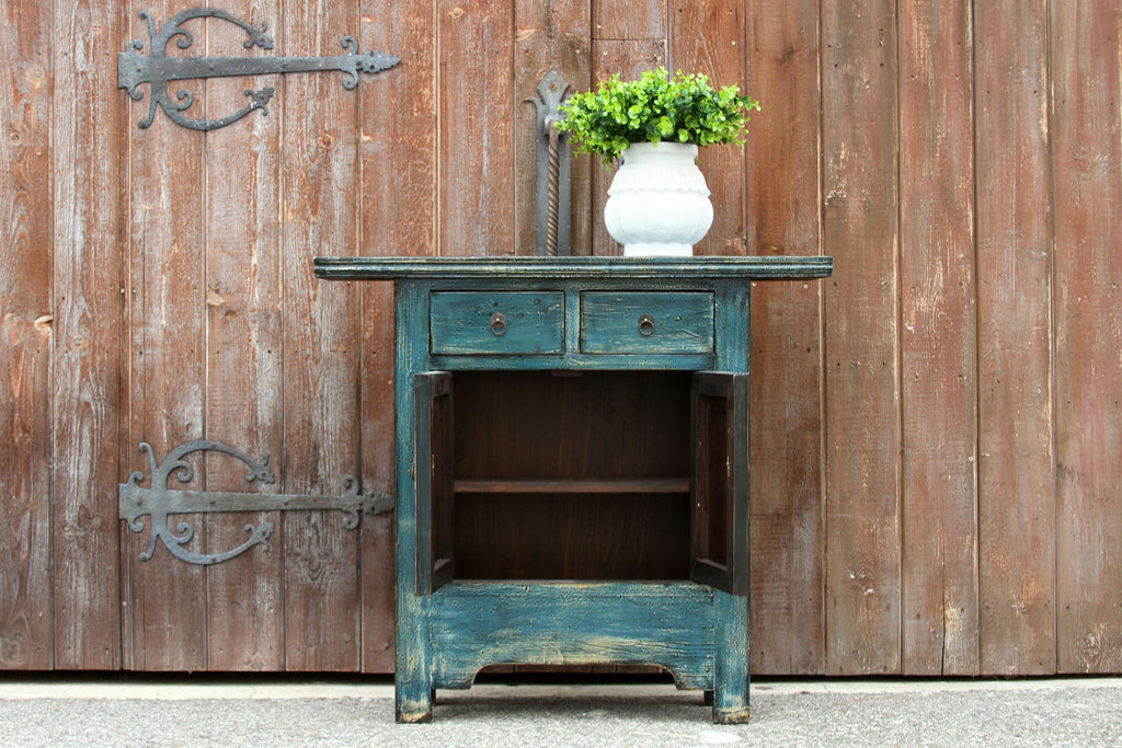 Small Slate Blue Lacquered Cabinet