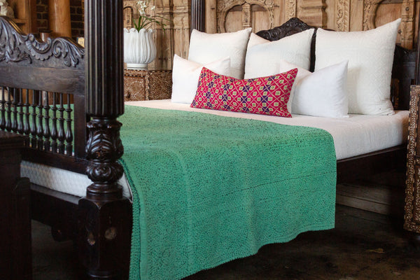 Aquamarine Filanan Embroidered Bed Cover