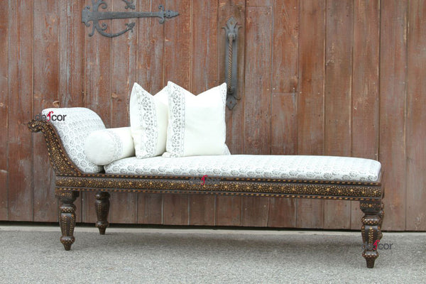 Anglo Indian Block Print Linen Upholstered Chaise Lounge
