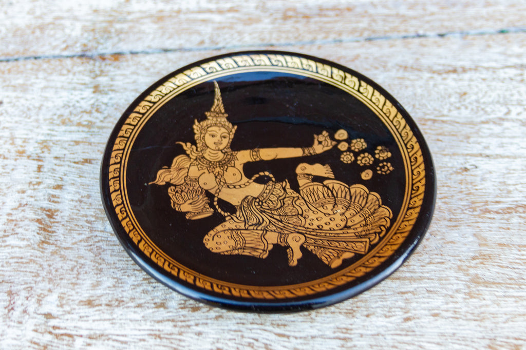 Thai Black and Gilt Plate