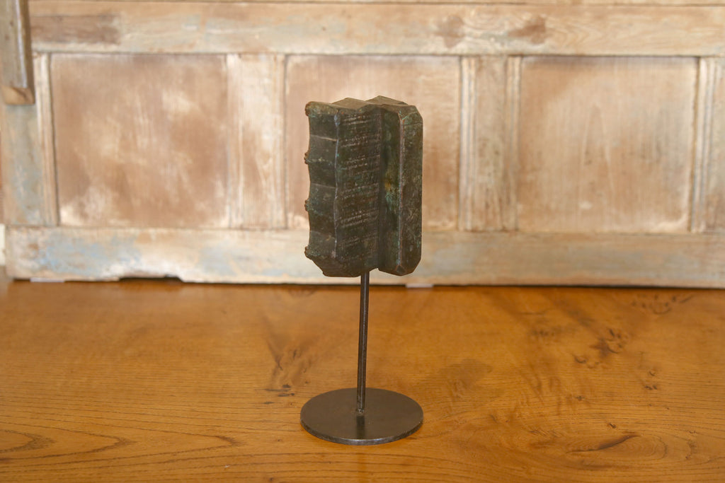 Carved Wood Block on Stand