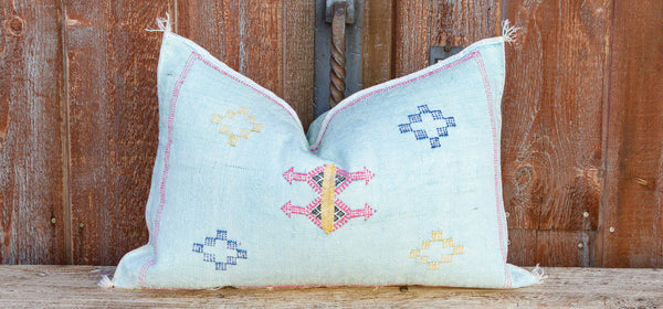 Light Blue Lumbar Moroccan Silk Rug Pillow