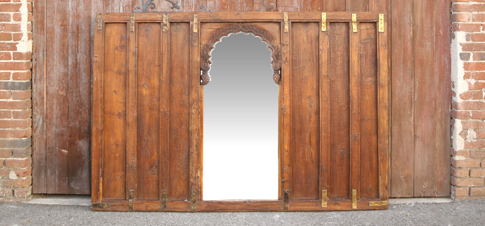 British Colonial Wall Panel Arched Mirror