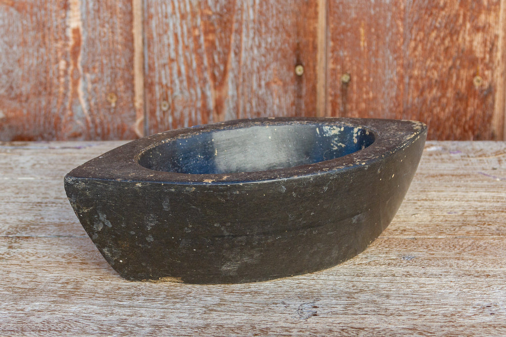 Carved Black Stone Boat Bowl