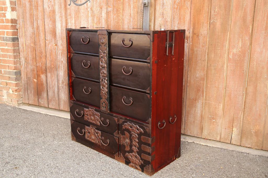 Elaborate Japanese Antique Tansu Dresser