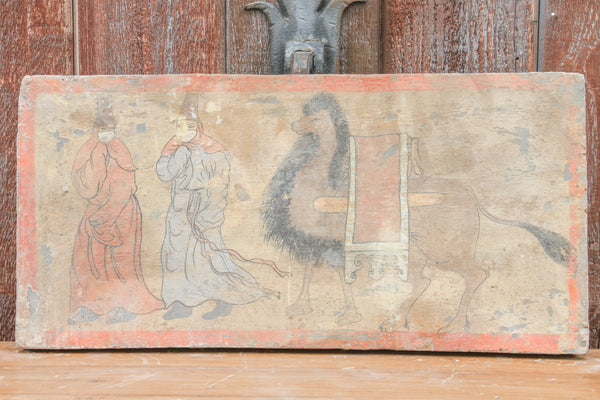 Mongolian Hand Painted Liao Dynasty Style Mural Tile