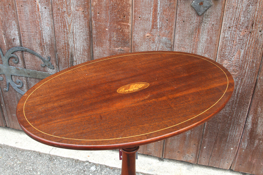 Antique Oval Inlaid Tripod Table