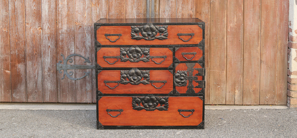 Lacquered Japanese Tansu Chest of Drawers