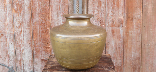 Ringed Amphora Shaped Brass Planter